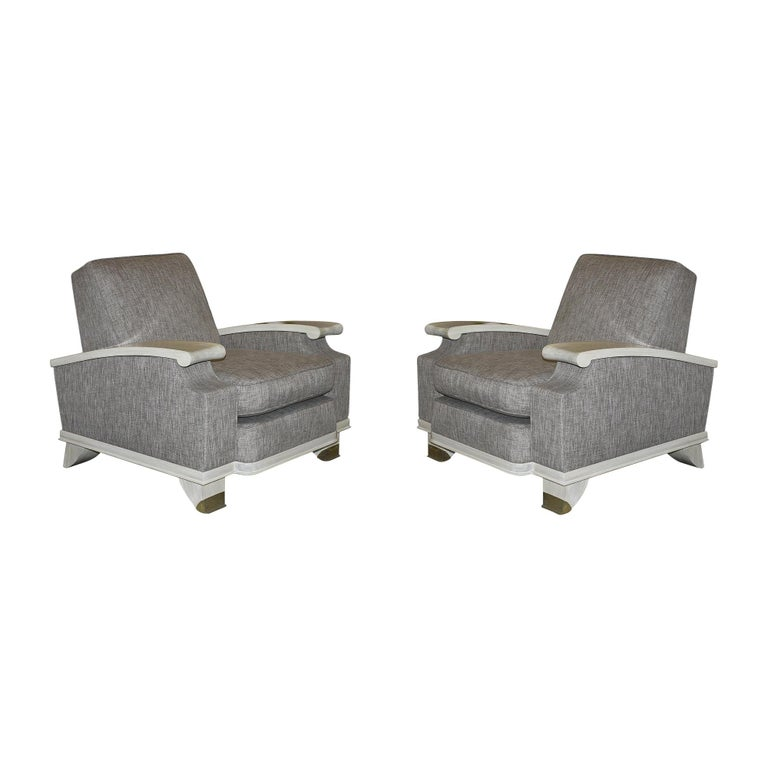 Jacques Adnet Model of Pair of Large Comfortable Armchairs For Sale
