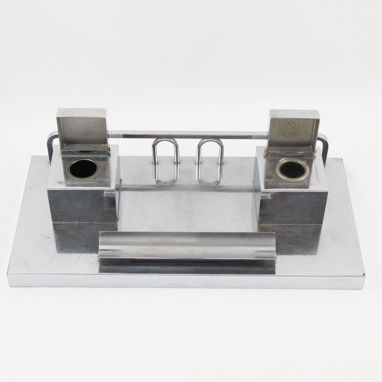 Mid-20th Century Jacques Adnet Modernist Art Deco Desk Accessory Chrome Double Inkwell For Sale