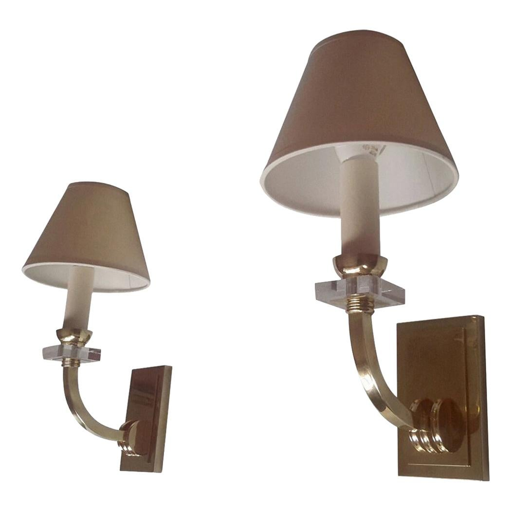 Jacques Adnet Neoclassical Pair of Gilt Bronze Wall Sconces, France, 1950s