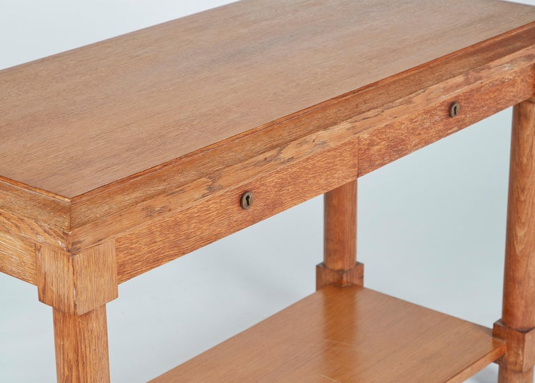 Art Deco Jacques Adnet, Neoclassically Inspired Oak Console Table, France, Midcentury For Sale