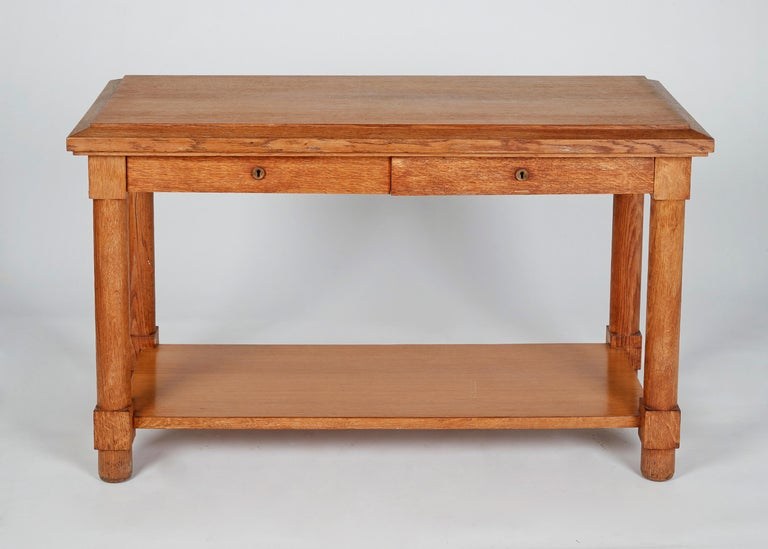 French Jacques Adnet, Neoclassically Inspired Oak Console Table, France, Midcentury For Sale
