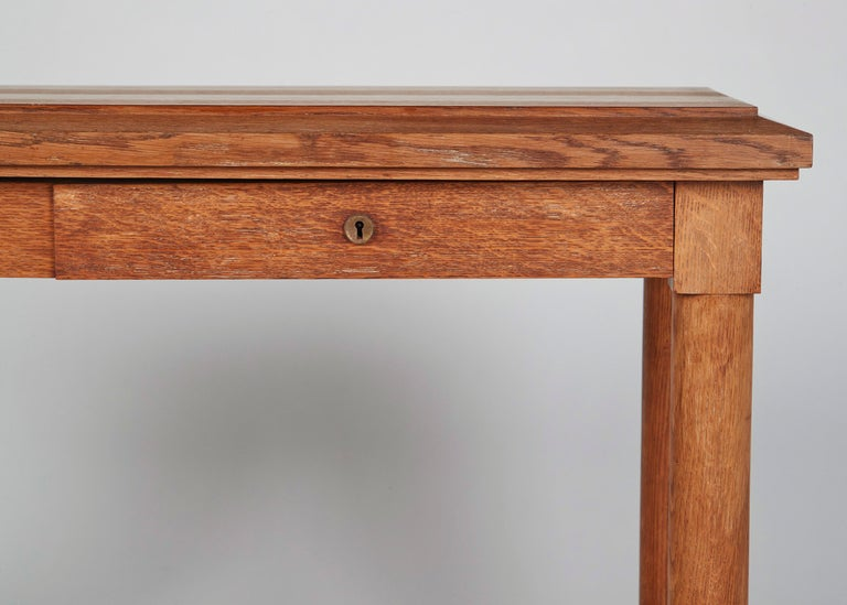 Jacques Adnet, Neoclassically Inspired Oak Console Table, France, Midcentury In Good Condition For Sale In New York, NY