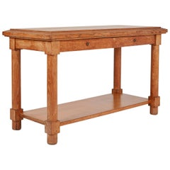 Jacques Adnet, Neoclassically Inspired Oak Console Table, France, Midcentury