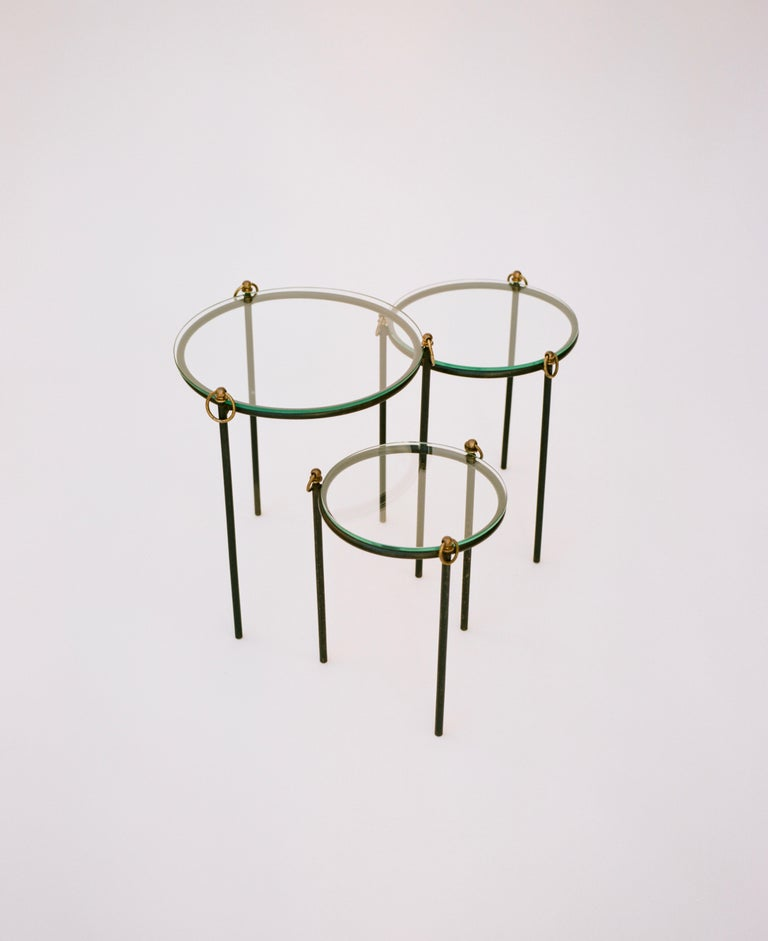 Mid-Century Modern Jacques Adnet, Nesting Tables 'Set of 3', circa 1950 For Sale