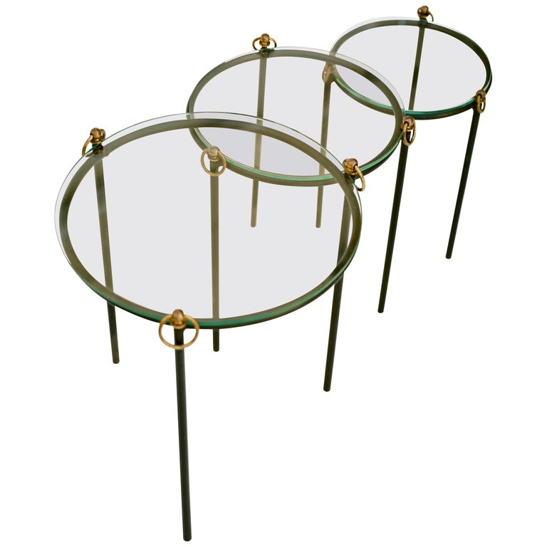 Jacques Adnet, Nesting Tables 'Set of 3', circa 1950 For Sale