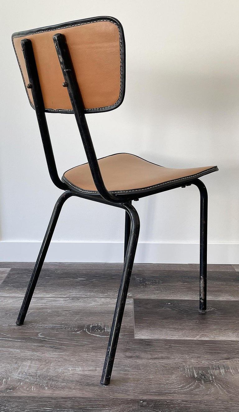 Metal Jacques Adnet, Original Chair, 1955 For Sale