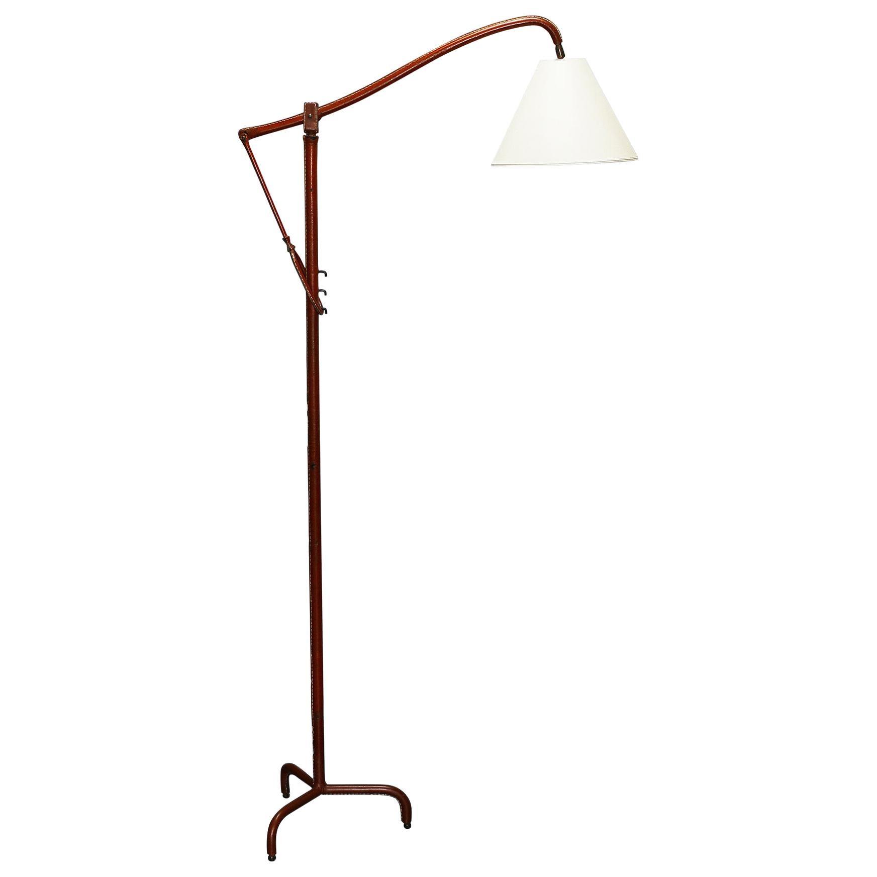 Jacques Adnet Original Leather Floor Lamp