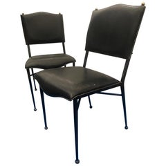 Jacques Adnet Pair of Black Stitched Leather and Metal Chairs, French, 1950
