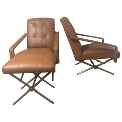 Jacques Adnet Pair of Brown Leather Armchairs and One Ottoman, French, 1950