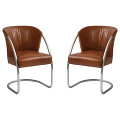 Jacques Adnet Pair of Brown Leather Chrome Chairs, France, 1932