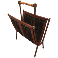 Jacques Adnet Pair of Brown Stitched Leather and Tartan Plaid Wool Magazine Rack