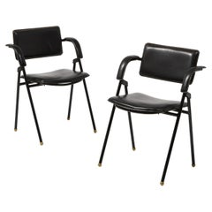 Jacques Adnet Pair of Folding Leather Chairs, France 1950's