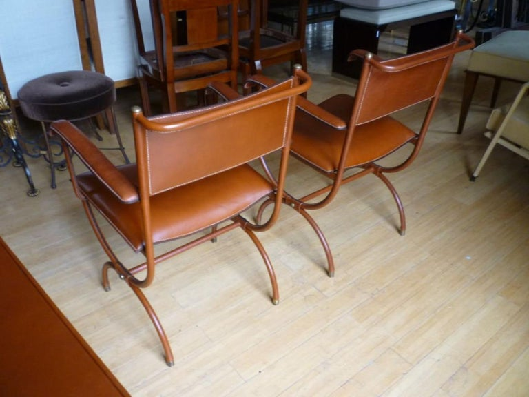 Mid-Century Modern Jacques Adnet Pair of Hand Stitched Arm Chairs For Sale
