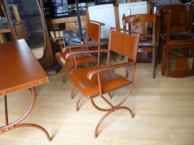 French Jacques Adnet Pair of Hand Stitched Arm Chairs For Sale