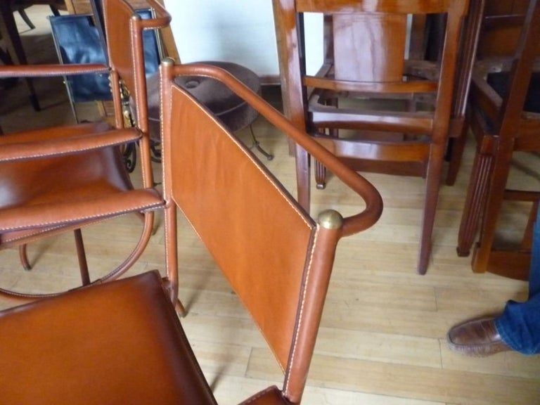 Hand-Crafted Jacques Adnet Pair of Hand Stitched Arm Chairs For Sale