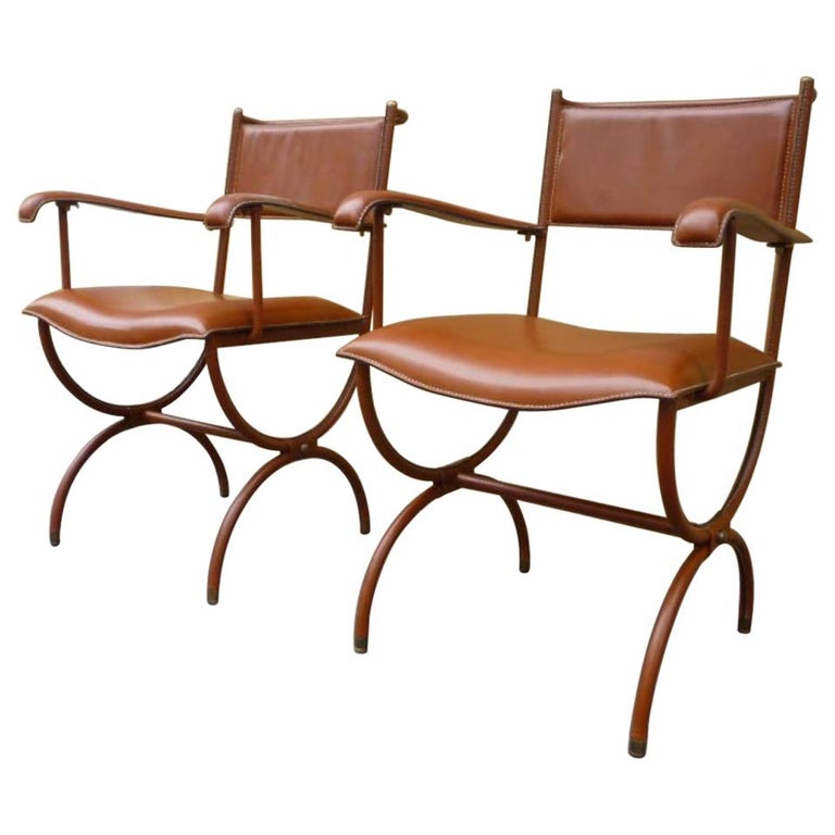 Jacques Adnet Pair of Hand Stitched Arm Chairs For Sale