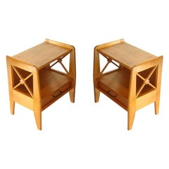 Jacques Adnet Mid-Century Modern Pair of Oak Side Tables, Night Stands