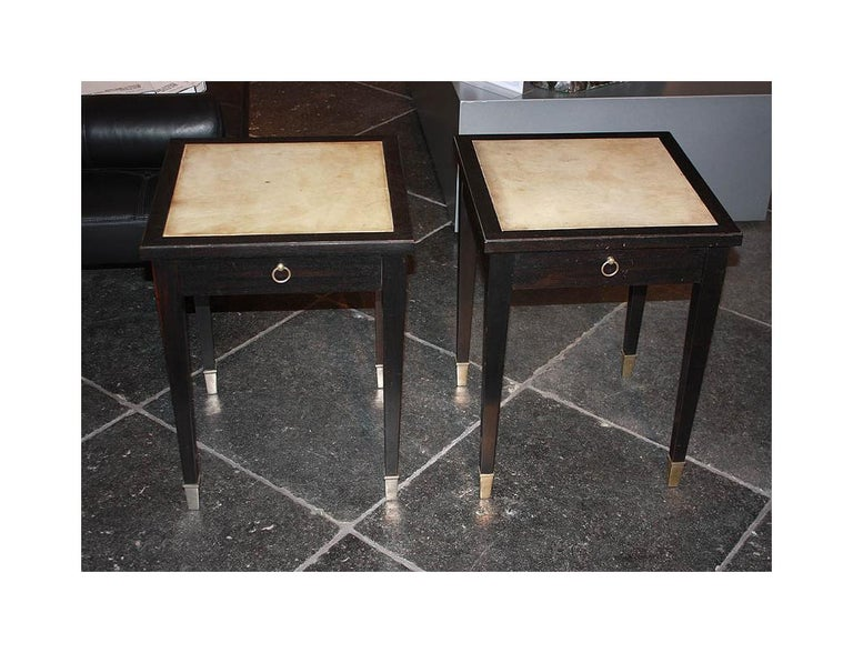 French Jacques Adnet Parchment Side Tables, France, 1940 For Sale