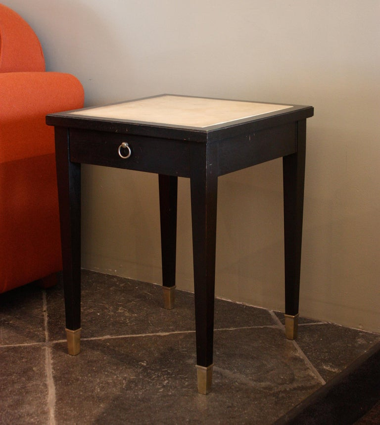 Jacques Adnet Parchment Side Tables, France, 1940 In Fair Condition For Sale In Los Angeles, CA