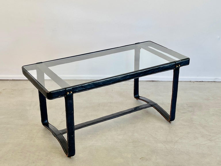 French Jacques Adnet Rectangular Coffee Table For Sale