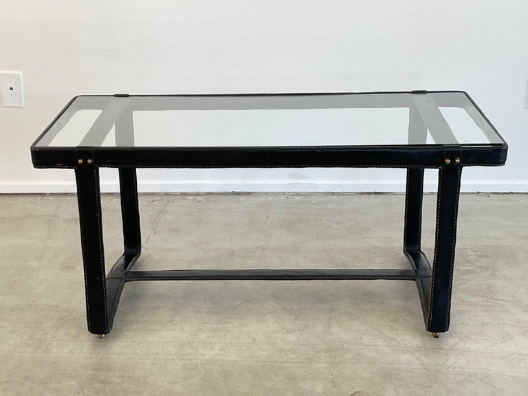 Leather Jacques Adnet Rectangular Coffee Table For Sale