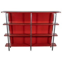 Jacques Adnet Red Lacquer Bookcase