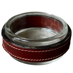 Jacques Adnet Red Leather and Glass Ashtray