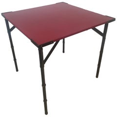 Jacques Adnet Red Leather Top and Black Leather Folding Square Table, 1950s