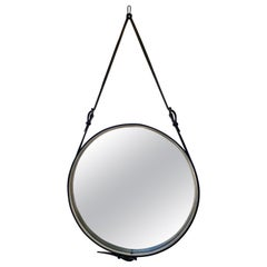 Jacques Adnet Round Black Saddle Leather Wall Mirror