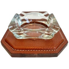 Jacques Adnet Saddle Leather and Glass Ashtray