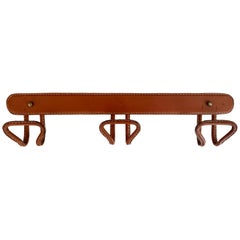 Jacques Adnet Saddle Leather Coat Rack