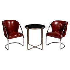 Jacques Adnet Set Brown Leather Chrome Chairs and Table, France, 1932
