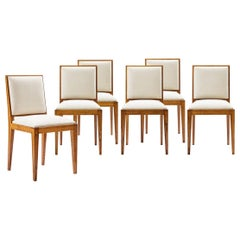 Jacques Adnet, Set of Six Oak Chairs, circa 1950