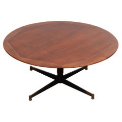 Jacques Adnet Side or Coffee Table with Leather Wrapped Pedestal Base