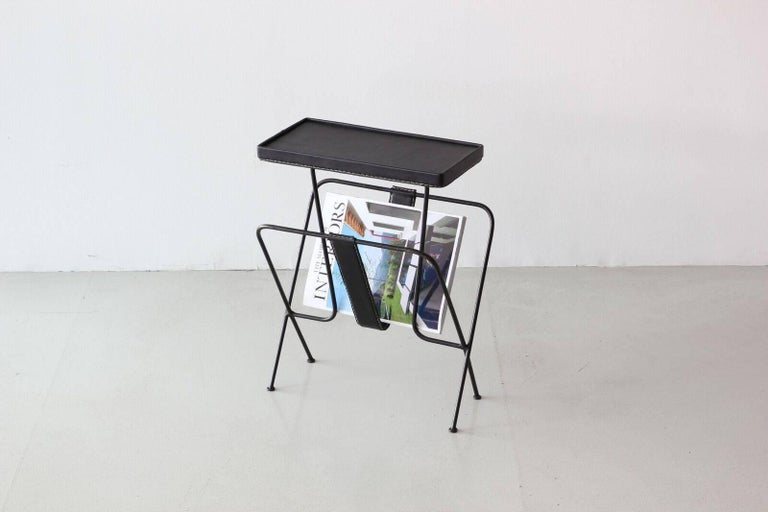 Leather Jacques Adnet Side Table For Sale