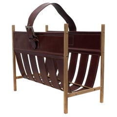 Jacques Adnet, Stich Leather Magazine Rack