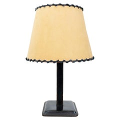 Jacques Adnet Stich Leather Table Lamp