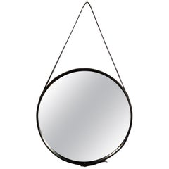 Jacques Adnet Stitched Leather and Brass Mirror