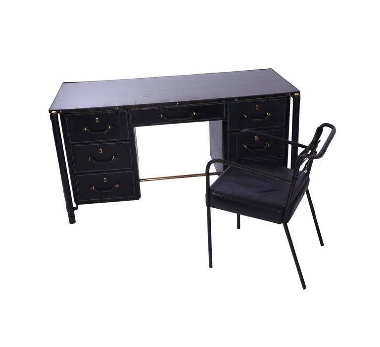 Mid-Century Modern Jacques Adnet Stitched Leather Executive Desk and Chair, France, 1940s For Sale