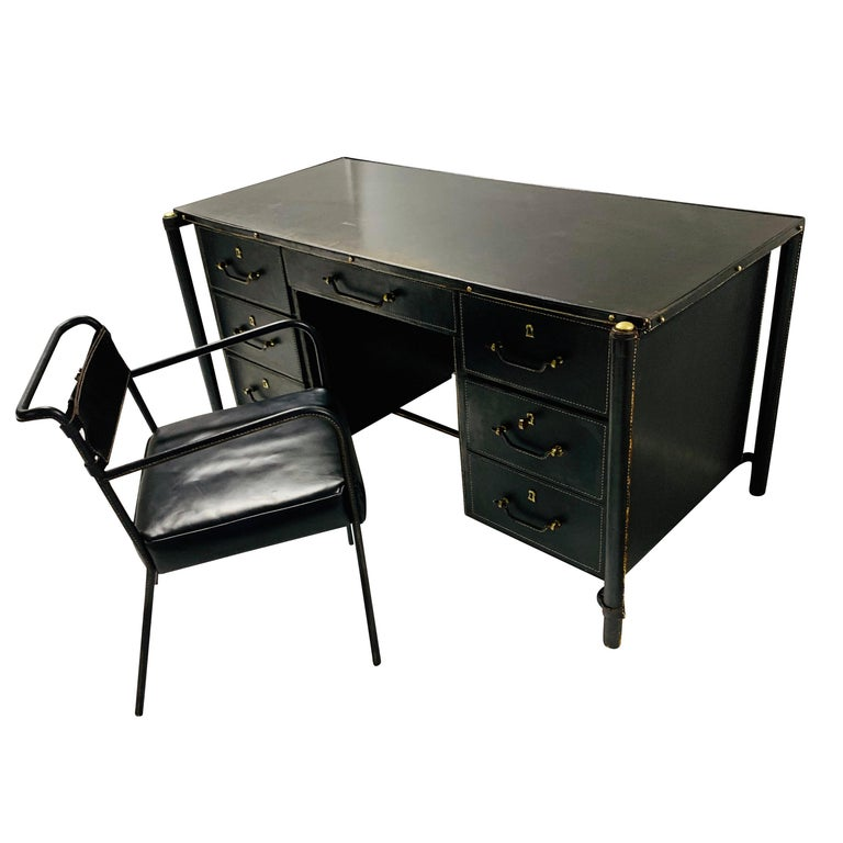 Jacques Adnet Stitched Leather Executive Desk and Chair, France, 1940s For Sale