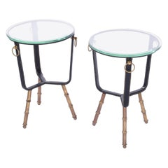 Jacques Adnet Stitched Leather Side Tables