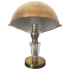 Jacques Adnet Style Art Deco Brass and Glass Table Lamp, French, 1930s