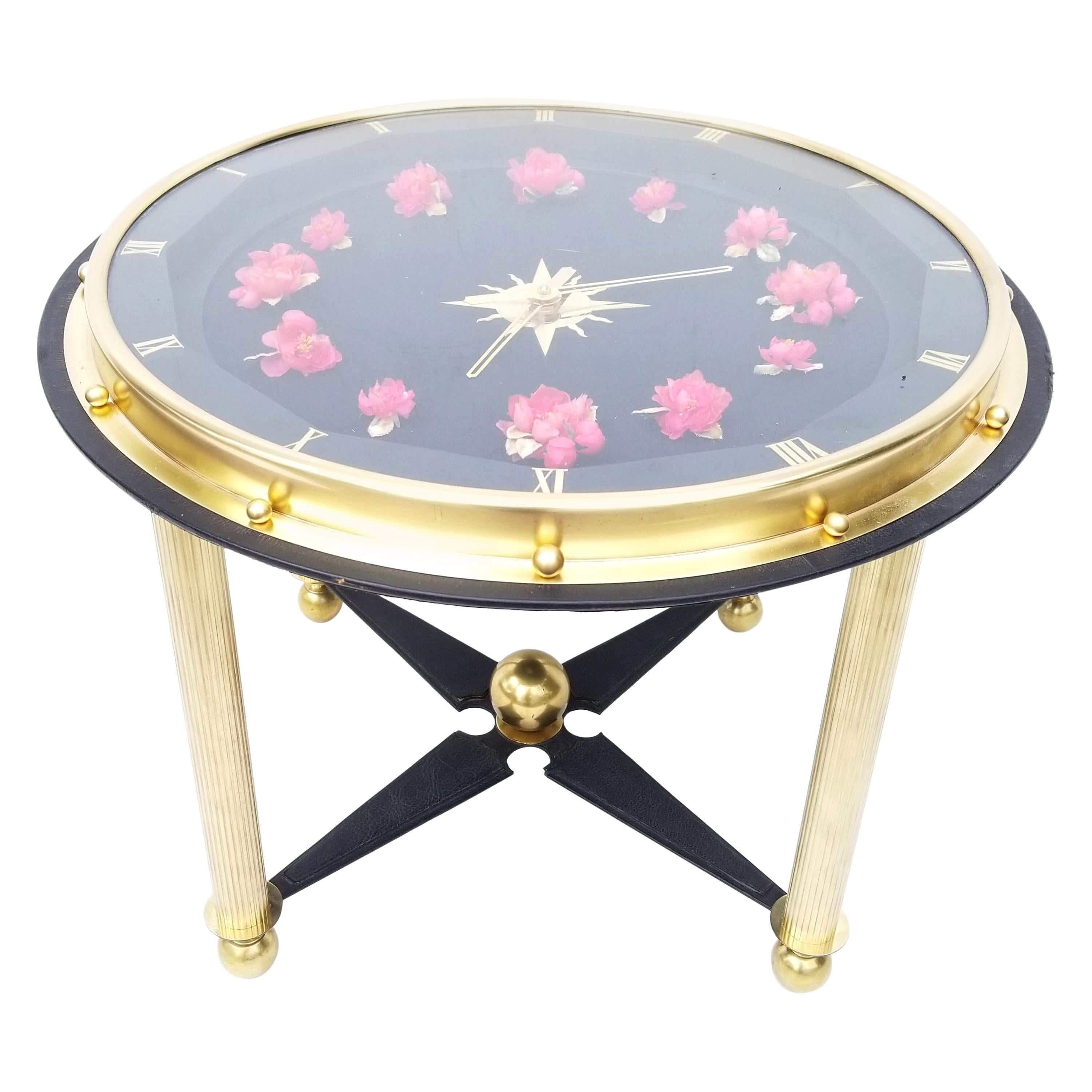Jacques Adnet Style Clock Side Table