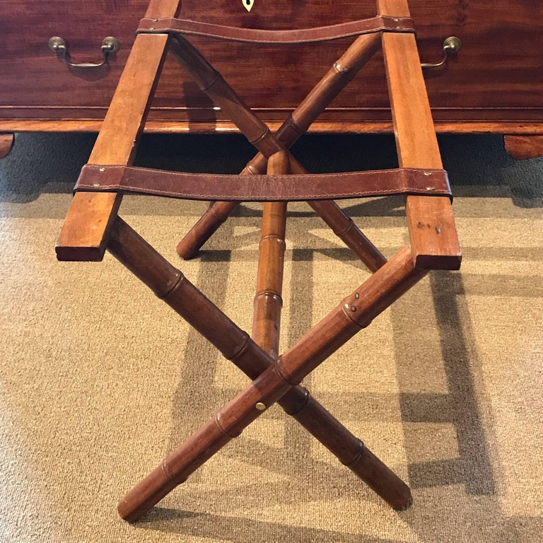 French Jacques Adnet Style Faux Bamboo and Leather Luggage Rack For Sale