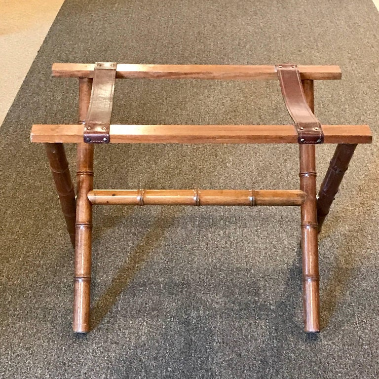 Carved Jacques Adnet Style Faux Bamboo and Leather Luggage Rack For Sale