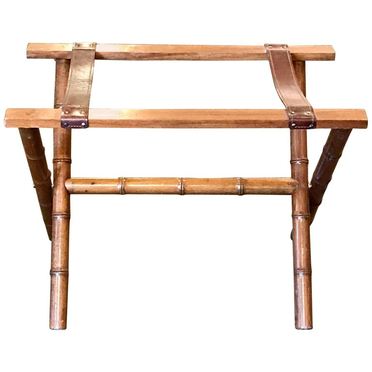 Jacques Adnet Style Faux Bamboo and Leather Luggage Rack For Sale