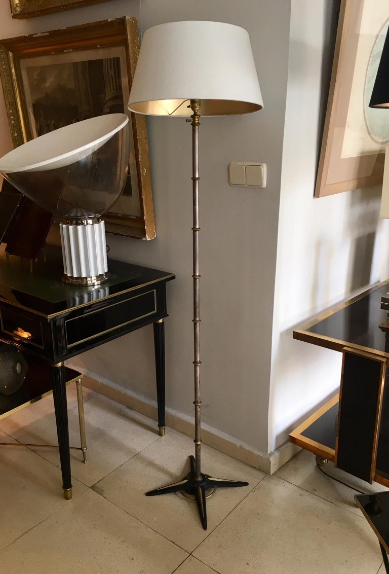 French Jacques Adnet Style Floor Lamp For Sale