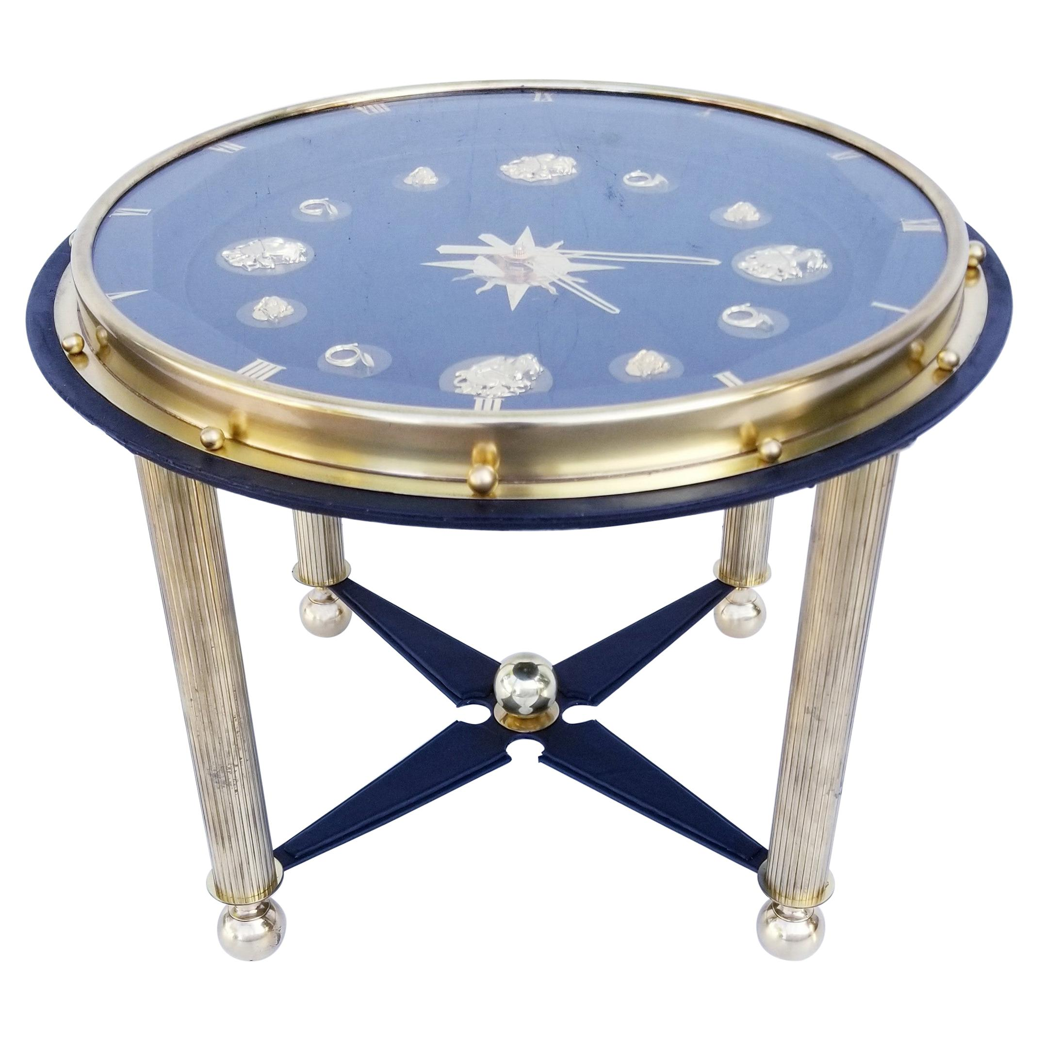 Jacques Adnet Style French Clock Table, circa 1950