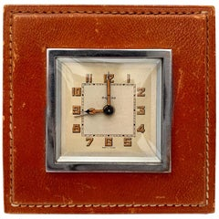 Jacques Adnet Style Leather Alarm Clock