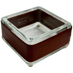 Jacques Adnet style Leather and Glass Ashtray / Catchall